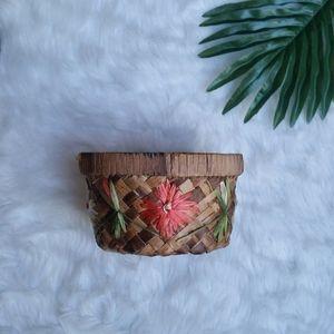 Vintage Woven Floral Plant Basket